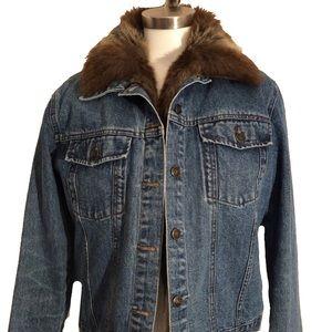 Fuda New York Blue Jean Faux Fur Inlay Jacket EUC